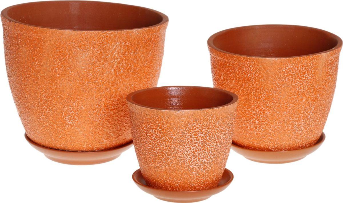 Набор кашпо Премьера. Букле, цвет: оранжевый, 3 предмета1039830Комнатные растения — всеобщие любимцы. Они радуют глаз, насыщают помещение кислородом и украшают пространство. Каждому из них необходим свой удобный и красивый дом. Кашпо из керамики прекрасно подходят для высадки растений: за счет пластичности глины и разных способов обработки существует великое множество форм и дизайнов пористый материал позволяет испаряться лишней влаге воздух, необходимый для дыхания корней, проникает сквозь керамические стенки! позаботится о зеленом питомце, освежит интерьер и подчеркнет его стиль.