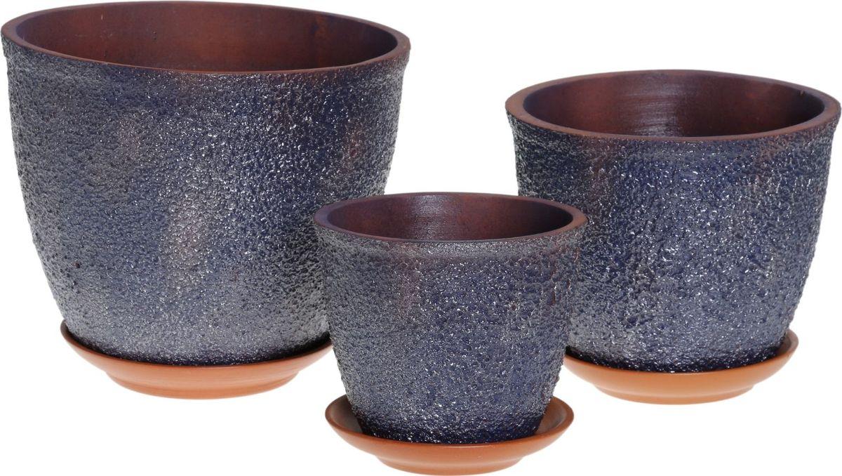 Набор кашпо Премьера. Букле, цвет: синий металлик, 3 предмета1039831Комнатные растения — всеобщие любимцы. Они радуют глаз, насыщают помещение кислородом и украшают пространство. Каждому из них необходим свой удобный и красивый дом. Кашпо из керамики прекрасно подходят для высадки растений: за счёт пластичности глины и разных способов обработки существует великое множество форм и дизайновпористый материал позволяет испаряться лишней влагевоздух, необходимый для дыхания корней, проникает сквозь керамические стенки! #name# позаботится о зелёном питомце, освежит интерьер и подчеркнёт его стиль.