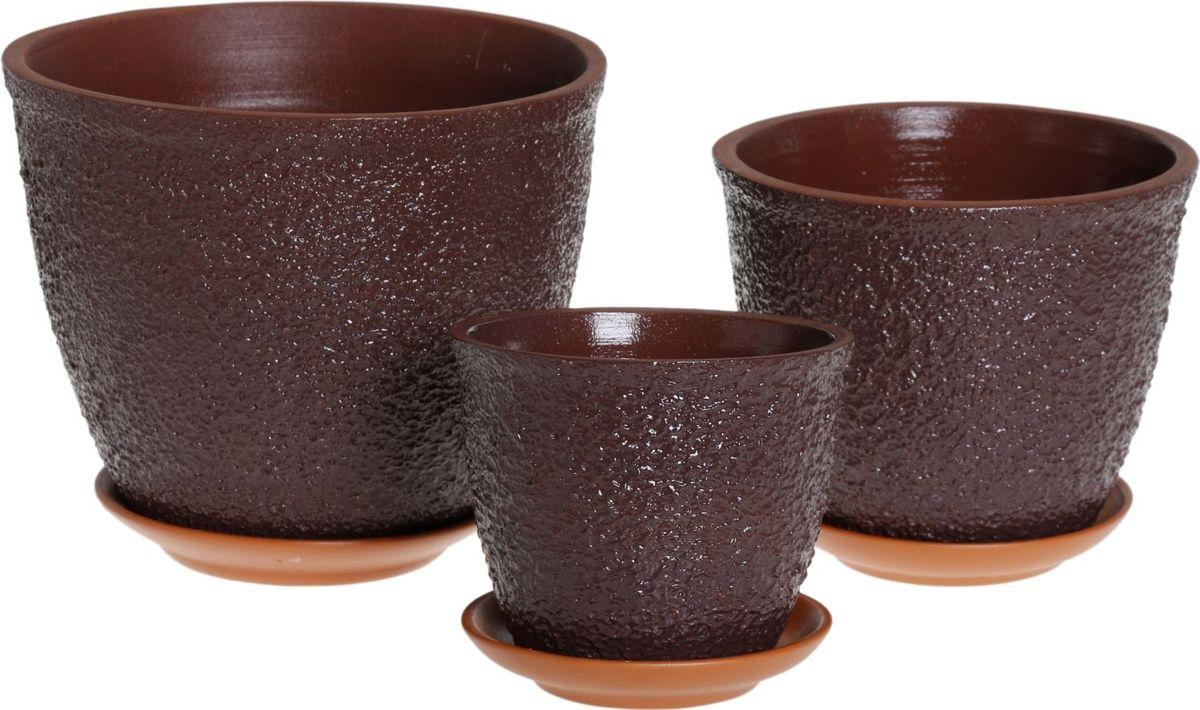 Набор кашпо Премьера. Букле, цвет: темно-коричневый, 3 предмета1039833Комнатные растения — всеобщие любимцы. Они радуют глаз, насыщают помещение кислородом и украшают пространство. Каждому из них необходим свой удобный и красивый дом. Кашпо из керамики прекрасно подходят для высадки растений: за счёт пластичности глины и разных способов обработки существует великое множество форм и дизайновпористый материал позволяет испаряться лишней влагевоздух, необходимый для дыхания корней, проникает сквозь керамические стенки! #name# позаботится о зелёном питомце, освежит интерьер и подчеркнёт его стиль.