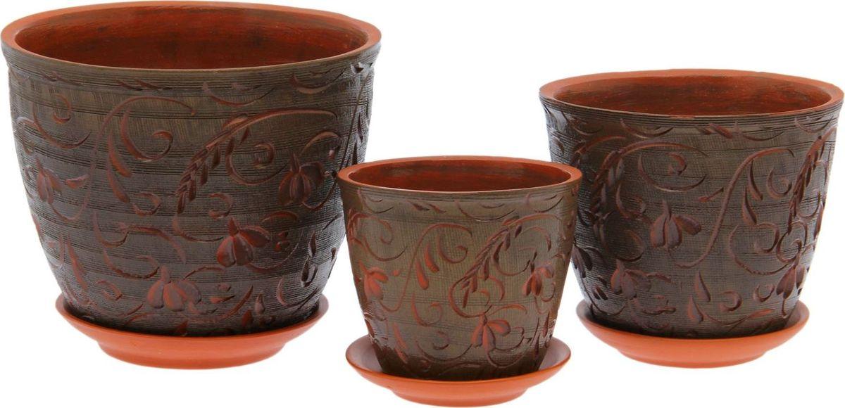 Набор кашпо Премьера. Гобелен, цвет: коричневый, 3 предмета1039839Комнатные растения — всеобщие любимцы. Они радуют глаз, насыщают помещение кислородом и украшают пространство. Каждому из них необходим свой удобный и красивый дом. Кашпо из керамики прекрасно подходят для высадки растений: за счёт пластичности глины и разных способов обработки существует великое множество форм и дизайновпористый материал позволяет испаряться лишней влагевоздух, необходимый для дыхания корней, проникает сквозь керамические стенки! #name# позаботится о зелёном питомце, освежит интерьер и подчеркнёт его стиль.