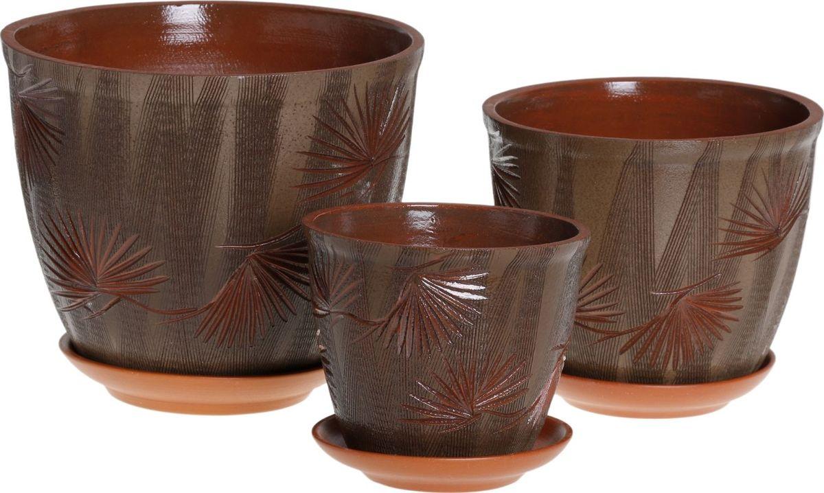 Набор кашпо Премьера. Кедр, цвет: темно-зеленый, 3 предмета1039843Комнатные растения — всеобщие любимцы. Они радуют глаз, насыщают помещение кислородом и украшают пространство. Каждому из них необходим свой удобный и красивый дом. Кашпо из керамики прекрасно подходят для высадки растений: за счёт пластичности глины и разных способов обработки существует великое множество форм и дизайновпористый материал позволяет испаряться лишней влагевоздух, необходимый для дыхания корней, проникает сквозь керамические стенки! #name# позаботится о зелёном питомце, освежит интерьер и подчеркнёт его стиль.