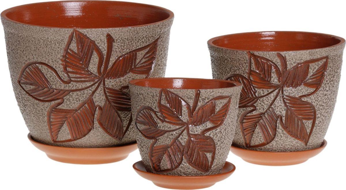 Набор кашпо Премьера. Листок, 3 предмета1039849Комнатные растения — всеобщие любимцы. Они радуют глаз, насыщают помещение кислородом и украшают пространство. Каждому из них необходим свой удобный и красивый дом. Кашпо из керамики прекрасно подходят для высадки растений: за счёт пластичности глины и разных способов обработки существует великое множество форм и дизайновпористый материал позволяет испаряться лишней влагевоздух, необходимый для дыхания корней, проникает сквозь керамические стенки! #name# позаботится о зелёном питомце, освежит интерьер и подчеркнёт его стиль.