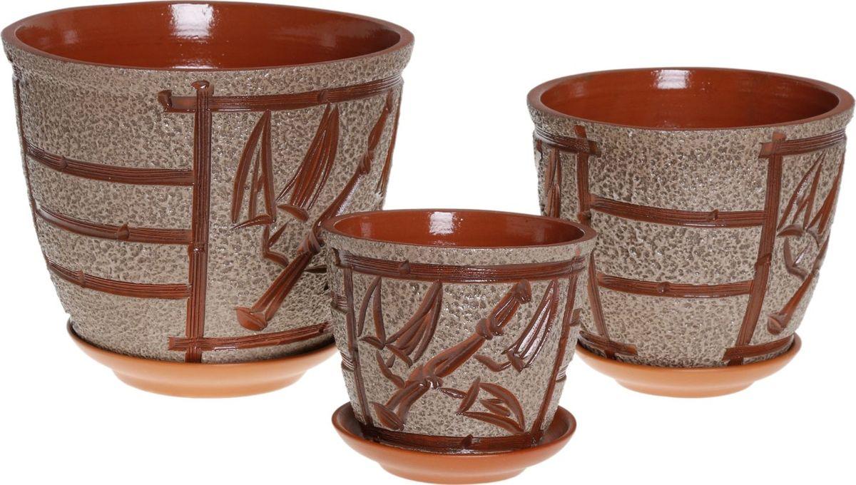 Набор кашпо Премьера. Бамбук, 3 предмета1039850Комнатные растения — всеобщие любимцы. Они радуют глаз, насыщают помещение кислородом и украшают пространство. Каждому из них необходим свой удобный и красивый дом. Кашпо из керамики прекрасно подходят для высадки растений: за счёт пластичности глины и разных способов обработки существует великое множество форм и дизайновпористый материал позволяет испаряться лишней влагевоздух, необходимый для дыхания корней, проникает сквозь керамические стенки! #name# позаботится о зелёном питомце, освежит интерьер и подчеркнёт его стиль.