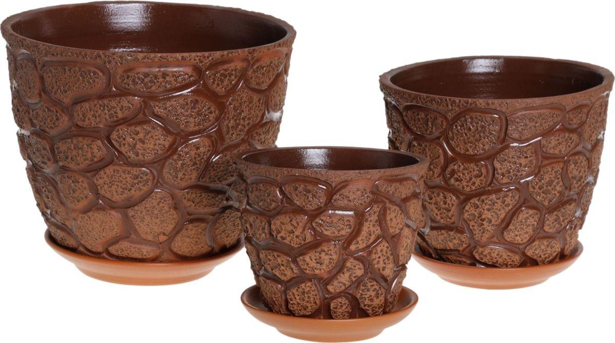 Набор кашпо Премьера. Черепаха, 3 предмета1039855Комнатные растения — всеобщие любимцы. Они радуют глаз, насыщают помещение кислородом и украшают пространство. Каждому из них необходим свой удобный и красивый дом. Кашпо из керамики прекрасно подходят для высадки растений: за счёт пластичности глины и разных способов обработки существует великое множество форм и дизайновпористый материал позволяет испаряться лишней влагевоздух, необходимый для дыхания корней, проникает сквозь керамические стенки! #name# позаботится о зелёном питомце, освежит интерьер и подчеркнёт его стиль.