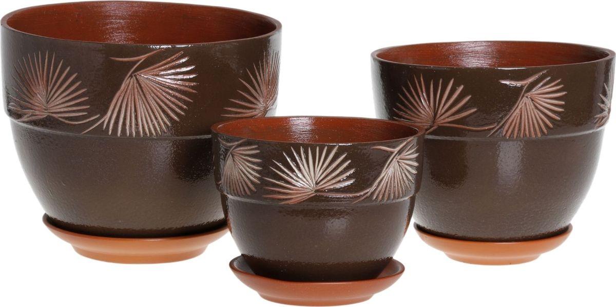 Набор кашпо Премьера. Сосна, цвет: шоколадный, 3 предмета1039857Комнатные растения — всеобщие любимцы. Они радуют глаз, насыщают помещение кислородом и украшают пространство. Каждому из них необходим свой удобный и красивый дом. Кашпо из керамики прекрасно подходят для высадки растений: за счёт пластичности глины и разных способов обработки существует великое множество форм и дизайновпористый материал позволяет испаряться лишней влагевоздух, необходимый для дыхания корней, проникает сквозь керамические стенки! #name# позаботится о зелёном питомце, освежит интерьер и подчеркнёт его стиль.