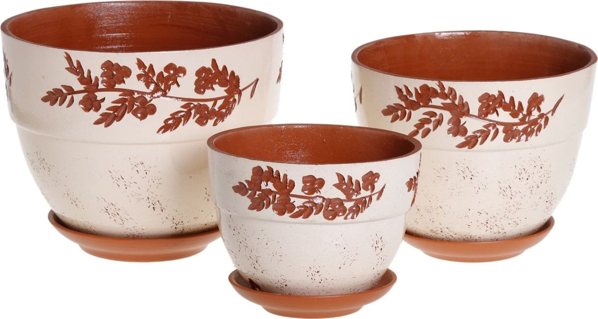 Набор кашпо Премьера. Калина, 3 предмета1039858Комнатные растения — всеобщие любимцы. Они радуют глаз, насыщают помещение кислородом и украшают пространство. Каждому из них необходим свой удобный и красивый дом. Кашпо из керамики прекрасно подходят для высадки растений: за счет пластичности глины и разных способов обработки существует великое множество форм и дизайнов пористый материал позволяет испаряться лишней влаге воздух, необходимый для дыхания корней, проникает сквозь керамические стенки! позаботится о зеленом питомце, освежит интерьер и подчеркнет его стиль.