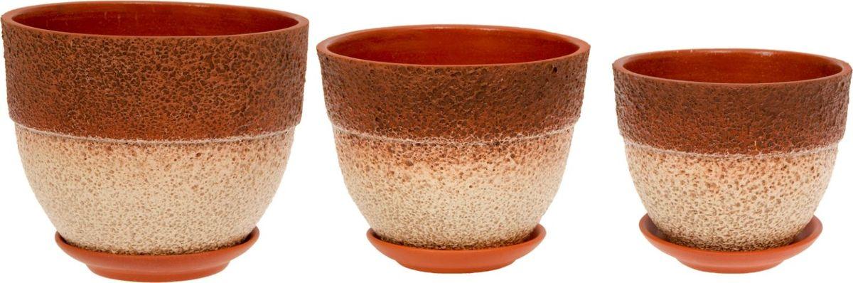 Набор кашпо Триумф, цвет: коричневый, бежевый, 3 предмета1039862Комнатные растения — всеобщие любимцы. Они радуют глаз, насыщают помещение кислородом и украшают пространство. Каждому из них необходим свой удобный и красивый дом. Кашпо из керамики прекрасно подходят для высадки растений: за счёт пластичности глины и разных способов обработки существует великое множество форм и дизайновпористый материал позволяет испаряться лишней влагевоздух, необходимый для дыхания корней, проникает сквозь керамические стенки! #name# позаботится о зелёном питомце, освежит интерьер и подчеркнёт его стиль.