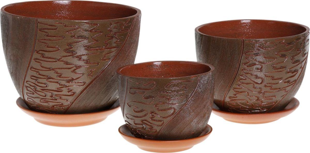 Набор кашпо Экспрессия, цвет: зеленый, 3 предмета1039869Комнатные растения — всеобщие любимцы. Они радуют глаз, насыщают помещение кислородом и украшают пространство. Каждому из них необходим свой удобный и красивый дом. Кашпо из керамики прекрасно подходят для высадки растений: за счёт пластичности глины и разных способов обработки существует великое множество форм и дизайновпористый материал позволяет испаряться лишней влагевоздух, необходимый для дыхания корней, проникает сквозь керамические стенки! #name# позаботится о зелёном питомце, освежит интерьер и подчеркнёт его стиль.