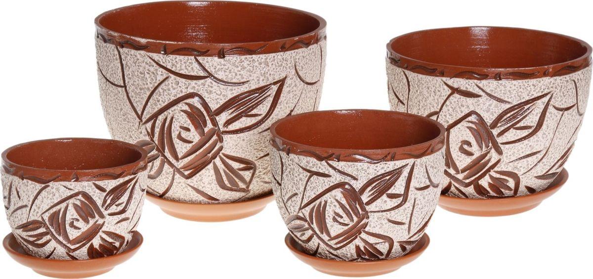 Набор кашпо Кракле, 4 предмета1039882Комнатные растения — всеобщие любимцы. Они радуют глаз, насыщают помещение кислородом и украшают пространство. Каждому из них необходим свой удобный и красивый дом. Кашпо из керамики прекрасно подходят для высадки растений: за счет пластичности глины и разных способов обработки существует великое множество форм и дизайнов пористый материал позволяет испаряться лишней влаге воздух, необходимый для дыхания корней, проникает сквозь керамические стенки! позаботится о зеленом питомце, освежит интерьер и подчеркнет его стиль.