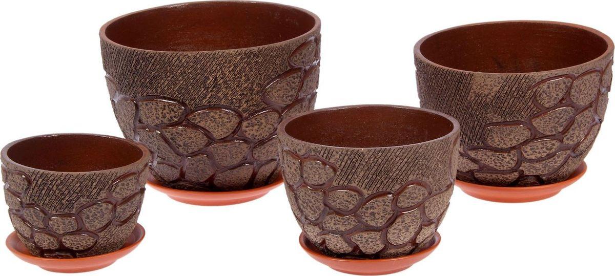 Набор кашпо Тропинка, цвет: серый, коричневый, 4 предмета1039885Комнатные растения — всеобщие любимцы. Они радуют глаз, насыщают помещение кислородом и украшают пространство. Каждому из них необходим свой удобный и красивый дом. Кашпо из керамики прекрасно подходят для высадки растений: за счёт пластичности глины и разных способов обработки существует великое множество форм и дизайновпористый материал позволяет испаряться лишней влагевоздух, необходимый для дыхания корней, проникает сквозь керамические стенки! #name# позаботится о зелёном питомце, освежит интерьер и подчеркнёт его стиль.