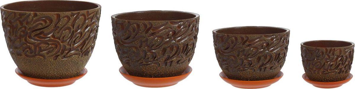 Набор кашпо Чак-Чак, цвет: зеленый, 4 предмета1039886Комнатные растения — всеобщие любимцы. Они радуют глаз, насыщают помещение кислородом и украшают пространство. Каждому из них необходим свой удобный и красивый дом. Кашпо из керамики прекрасно подходят для высадки растений: за счёт пластичности глины и разных способов обработки существует великое множество форм и дизайновпористый материал позволяет испаряться лишней влагевоздух, необходимый для дыхания корней, проникает сквозь керамические стенки! #name# позаботится о зелёном питомце, освежит интерьер и подчеркнёт его стиль.