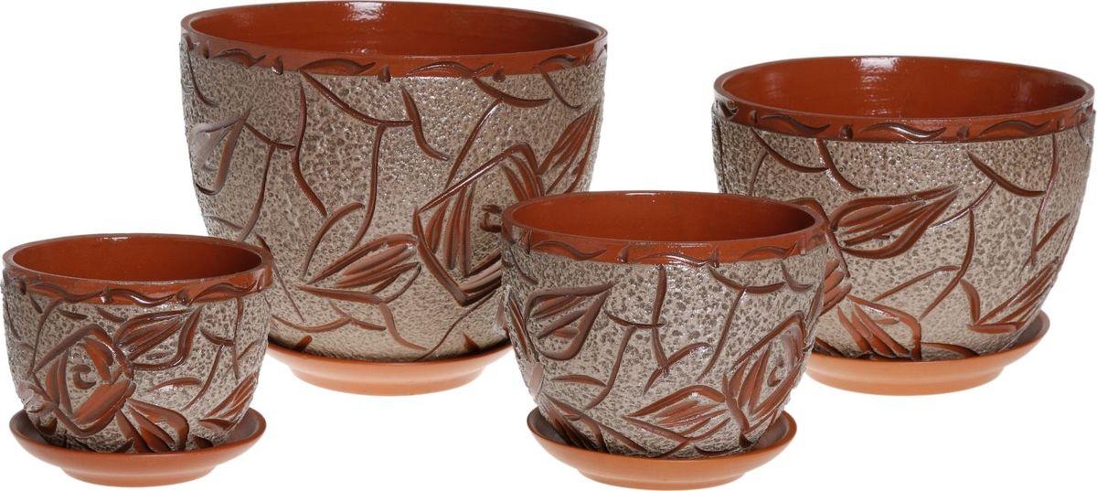 Набор кашпо Кракле, цвет: серый, 4 предмета1039890Комнатные растения — всеобщие любимцы. Они радуют глаз, насыщают помещение кислородом и украшают пространство. Каждому из них необходим свой удобный и красивый дом. Кашпо из керамики прекрасно подходят для высадки растений: за счёт пластичности глины и разных способов обработки существует великое множество форм и дизайновпористый материал позволяет испаряться лишней влагевоздух, необходимый для дыхания корней, проникает сквозь керамические стенки! #name# позаботится о зелёном питомце, освежит интерьер и подчеркнёт его стиль.