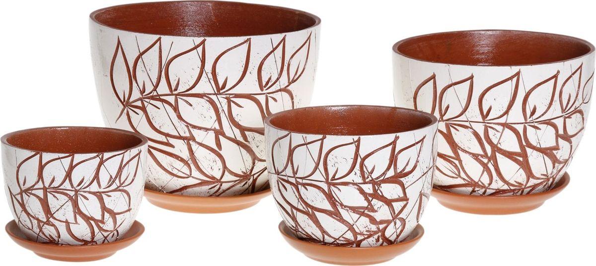 Набор кашпо Вдохновение, 4 предмета1039908Комнатные растения — всеобщие любимцы. Они радуют глаз, насыщают помещение кислородом и украшают пространство. Каждому из них необходим свой удобный и красивый дом. Кашпо из керамики прекрасно подходят для высадки растений: за счёт пластичности глины и разных способов обработки существует великое множество форм и дизайновпористый материал позволяет испаряться лишней влагевоздух, необходимый для дыхания корней, проникает сквозь керамические стенки! #name# позаботится о зелёном питомце, освежит интерьер и подчеркнёт его стиль.