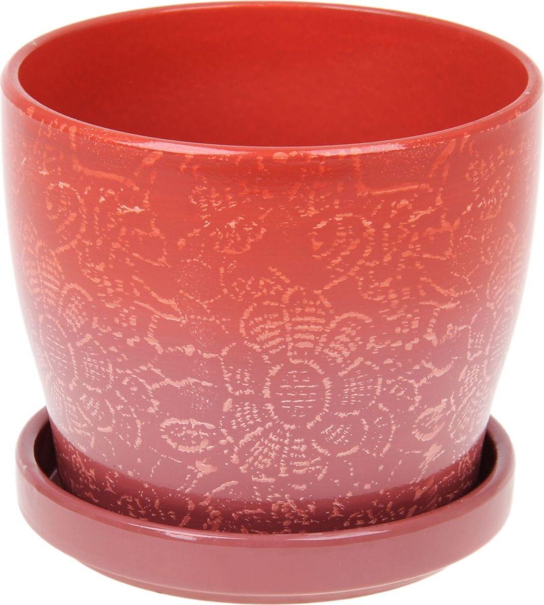 Кашпо Цветочное кружево, цвет: красный, 0,72 л1056015