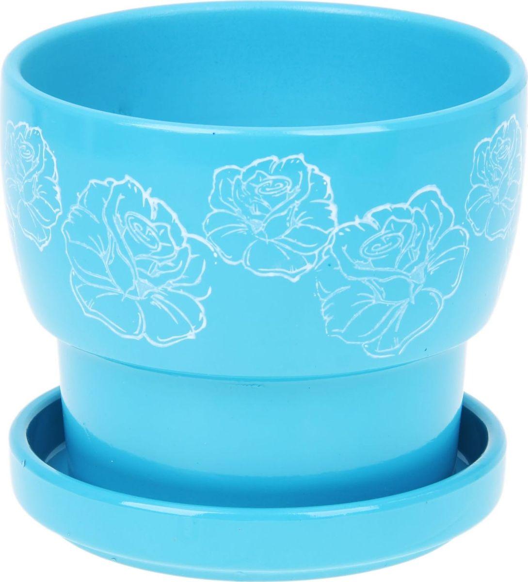 Кашпо Белые розы, цвет: голубой, 0,72 л1056032Комнатные растения — всеобщие любимцы. Они радуют глаз, насыщают помещение кислородом и украшают пространство. Каждому из них необходим свой удобный и красивый дом. Кашпо из керамики прекрасно подходят для высадки растений: за счёт пластичности глины и разных способов обработки существует великое множество форм и дизайновпористый материал позволяет испаряться лишней влагевоздух, необходимый для дыхания корней, проникает сквозь керамические стенки! #name# позаботится о зелёном питомце, освежит интерьер и подчеркнёт его стиль.