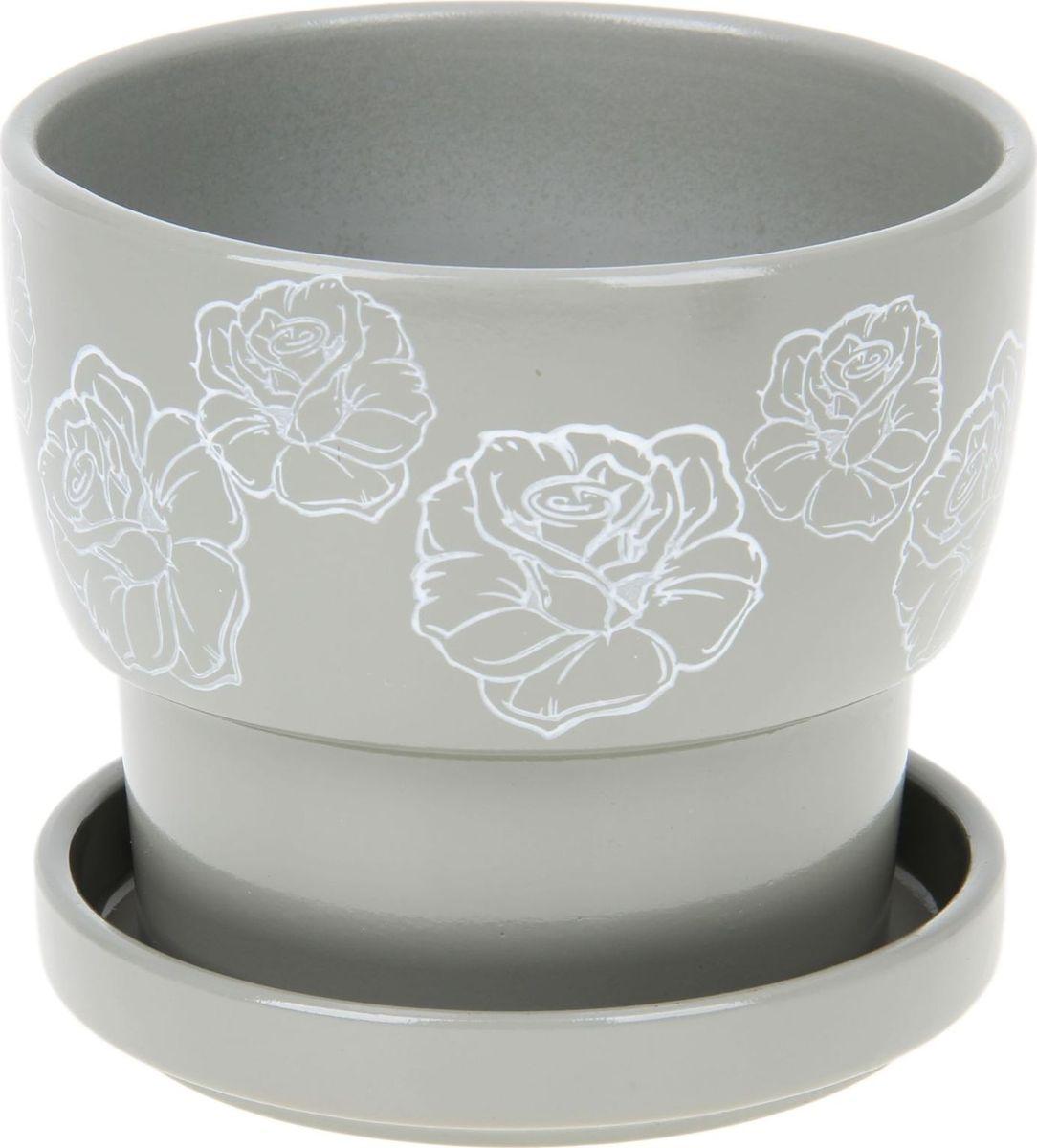 Кашпо Белые розы, цвет: серый, 0,72 л1056033Комнатные растения — всеобщие любимцы. Они радуют глаз, насыщают помещение кислородом и украшают пространство. Каждому из них необходим свой удобный и красивый дом. Кашпо из керамики прекрасно подходят для высадки растений: за счёт пластичности глины и разных способов обработки существует великое множество форм и дизайновпористый материал позволяет испаряться лишней влагевоздух, необходимый для дыхания корней, проникает сквозь керамические стенки! #name# позаботится о зелёном питомце, освежит интерьер и подчеркнёт его стиль.
