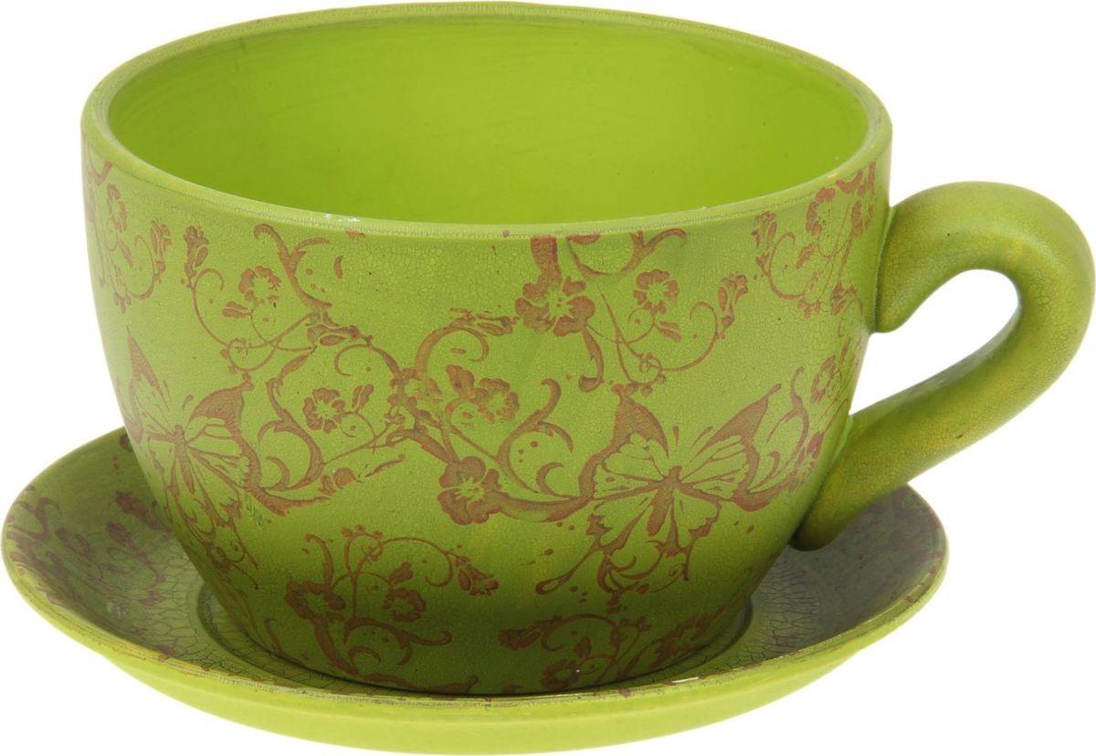 Кашпо NoName Чайная пара, с поддоном, цвет: зеленый, 2,25 л1056050Комнатные растения - всеобщие любимцы. Они радуют глаз, насыщают помещение кислородом и украшают пространство. Каждому из них необходим свой удобный и красивый дом.Кашпо из керамики Чайная пара прекрасно подходит для выращивания растений и цветов в домашних условиях. Лаконичный дизайн впишется в интерьер любого помещения.