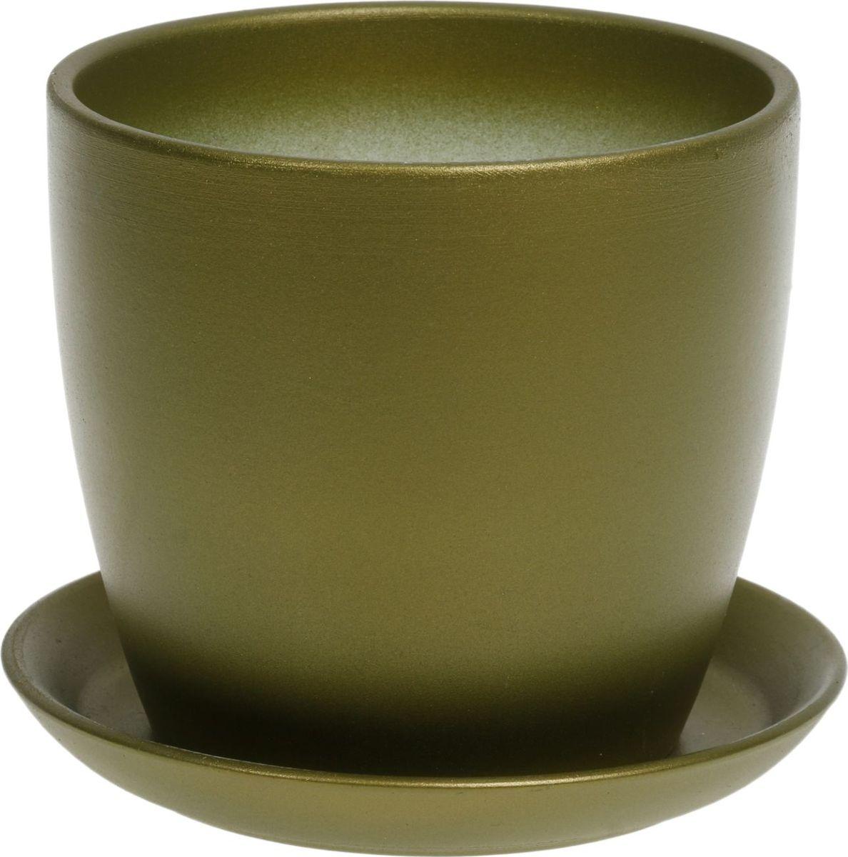 Кашпо Керамика ручной работы Осень, цвет: зеленый, 1 л1062703Комнатные растения — всеобщие любимцы. Они радуют глаз, насыщают помещение кислородом и украшают пространство. Каждому из них необходим свой удобный и красивый дом. Кашпо из керамики прекрасно подходят для высадки растений: за счёт пластичности глины и разных способов обработки существует великое множество форм и дизайновпористый материал позволяет испаряться лишней влагевоздух, необходимый для дыхания корней, проникает сквозь керамические стенки! #name# позаботится о зелёном питомце, освежит интерьер и подчеркнёт его стиль.