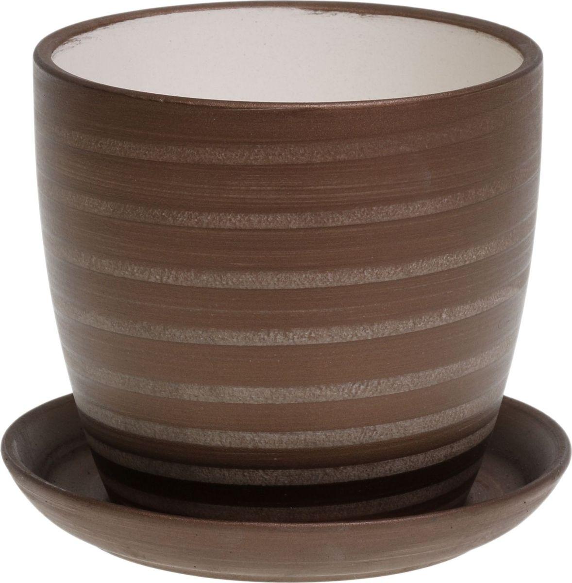 Кашпо Керамика ручной работы Осень. Радуга, цвет: темно-коричневый, 1 л1062705