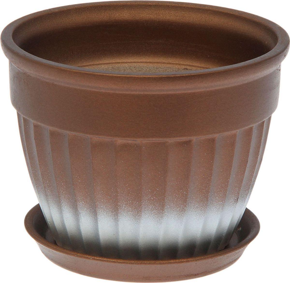 Кашпо Керамика ручной работы Ромашка, цвет: темно-коричневый, 0,5 л1062710Комнатные растения — всеобщие любимцы. Они радуют глаз, насыщают помещение кислородом и украшают пространство. Каждому из них необходим свой удобный и красивый дом. Кашпо из керамики прекрасно подходят для высадки растений: за счет пластичности глины и разных способов обработки существует великое множество форм и дизайнов пористый материал позволяет испаряться лишней влаге воздух, необходимый для дыхания корней, проникает сквозь керамические стенки! позаботится о зеленом питомце, освежит интерьер и подчеркнет его стиль.