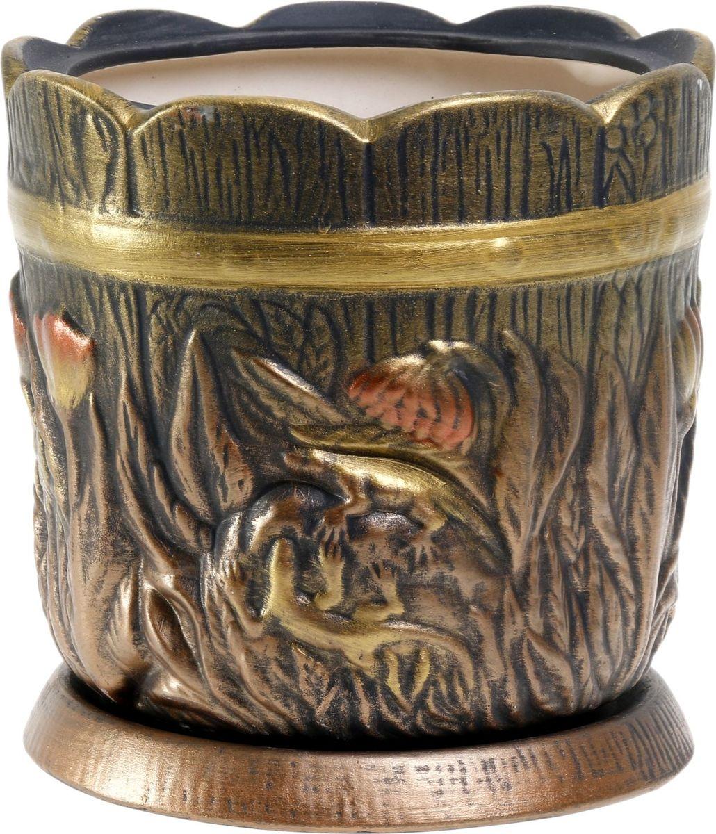 Кашпо Керамика ручной работы Поляна, цвет: бронзовый, 6 л1063319Комнатные растения — всеобщие любимцы. Они радуют глаз, насыщают помещение кислородом и украшают пространство. Каждому из них необходим свой удобный и красивый дом. Кашпо из керамики прекрасно подходят для высадки растений: за счёт пластичности глины и разных способов обработки существует великое множество форм и дизайновпористый материал позволяет испаряться лишней влагевоздух, необходимый для дыхания корней, проникает сквозь керамические стенки! #name# позаботится о зелёном питомце, освежит интерьер и подчеркнёт его стиль.