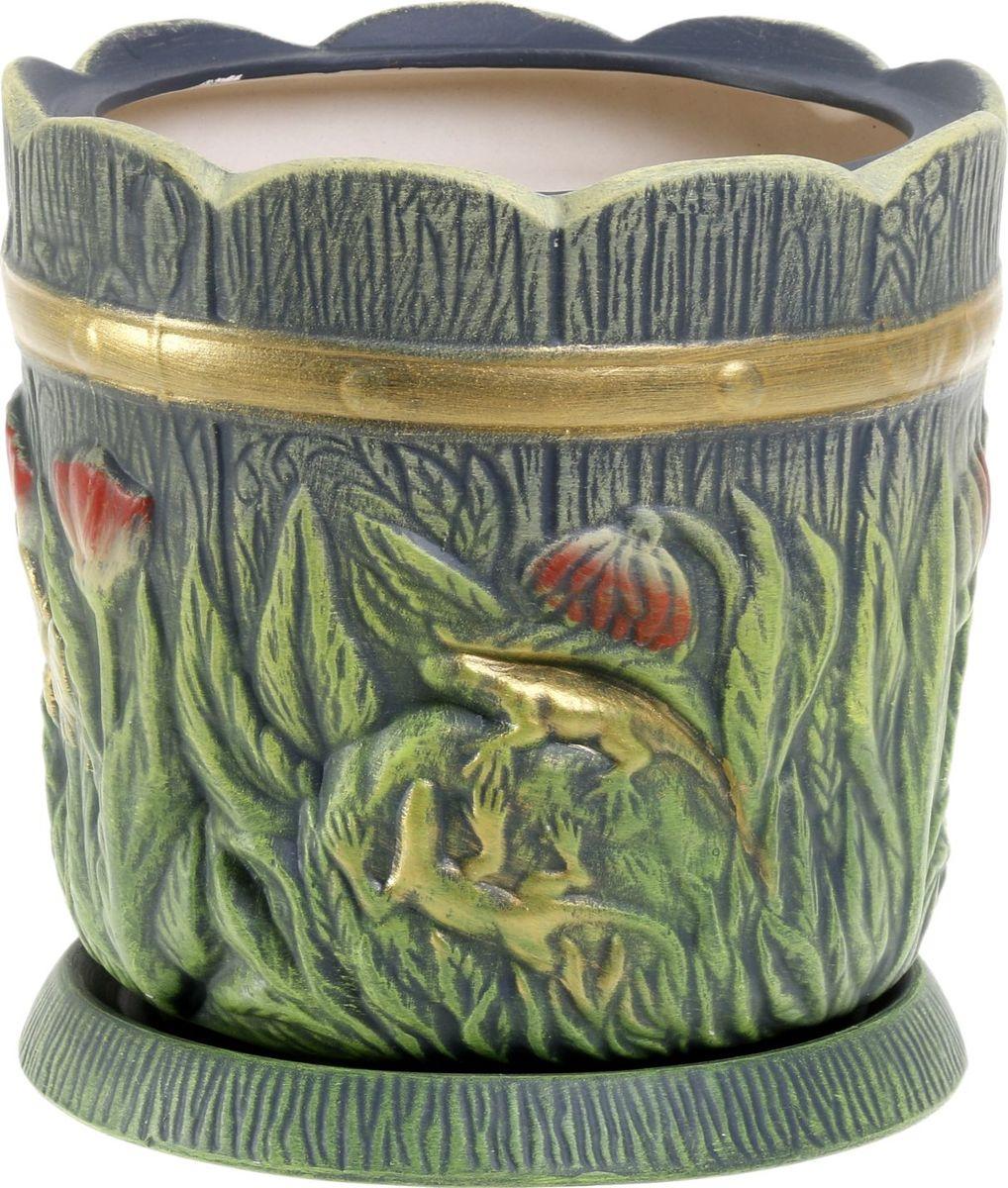 Кашпо Керамика ручной работы Поляна, цвет: темно-зеленый, 6 л1063320
