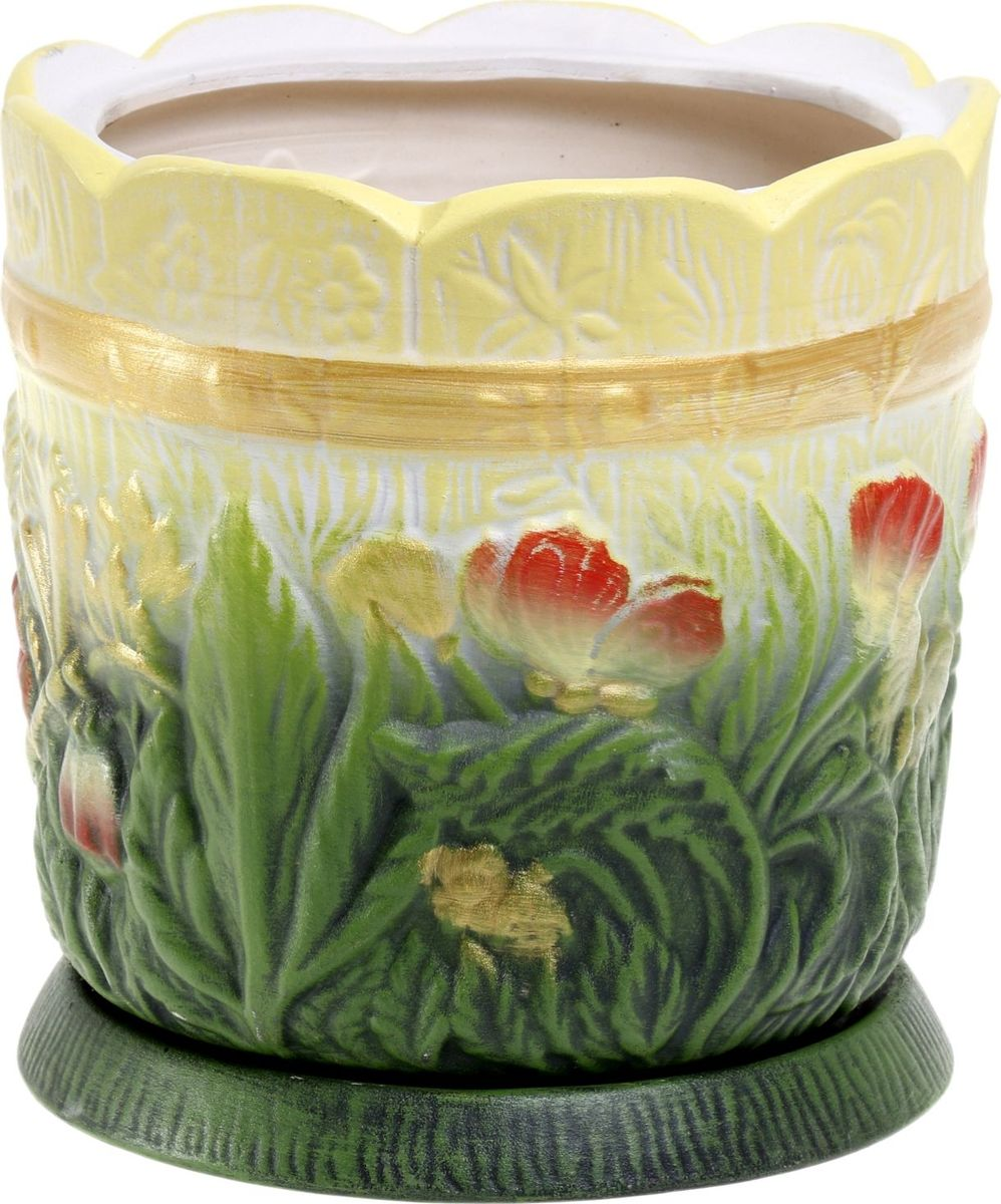 Кашпо Керамика ручной работы Поляна, цвет: желтый, зеленый, 6 л1063321