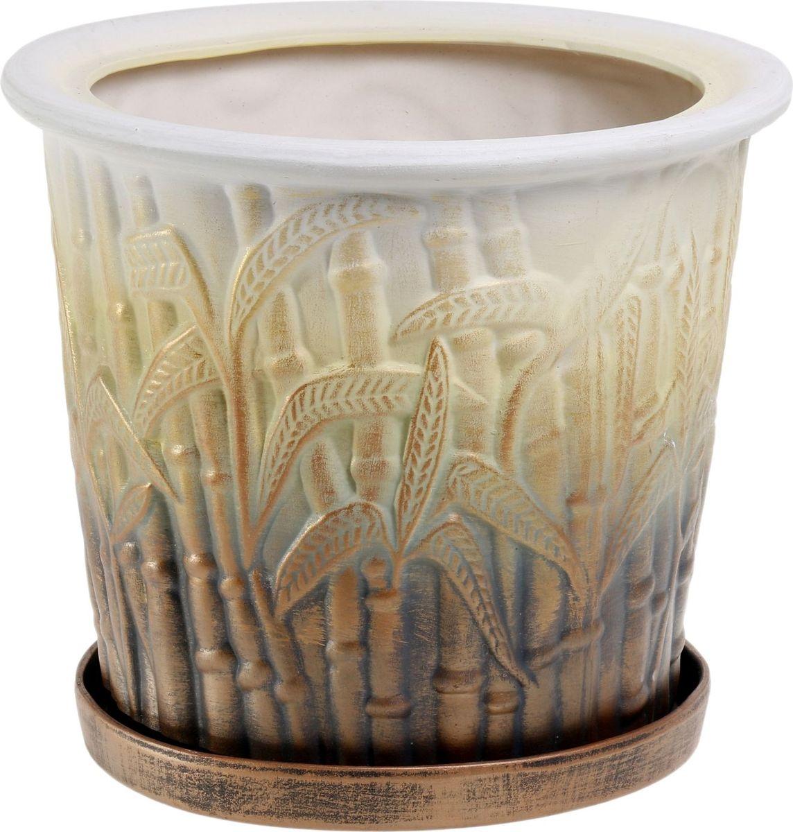Кашпо Керамика ручной работы Камыш, цвет: медный, 10 л1063480Комнатные растения — всеобщие любимцы. Они радуют глаз, насыщают помещение кислородом и украшают пространство. Каждому из них необходим свой удобный и красивый дом. Кашпо из керамики прекрасно подходят для высадки растений: за счёт пластичности глины и разных способов обработки существует великое множество форм и дизайновпористый материал позволяет испаряться лишней влагевоздух, необходимый для дыхания корней, проникает сквозь керамические стенки! #name# позаботится о зелёном питомце, освежит интерьер и подчеркнёт его стиль.