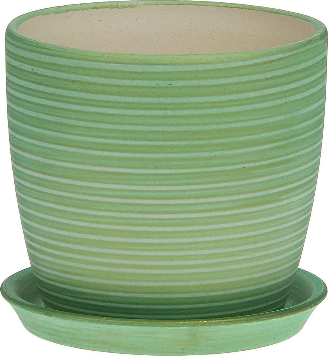 Кашпо Керамика ручной работы Осень. Радуга, цвет: салатовый, 0,5 л1063848