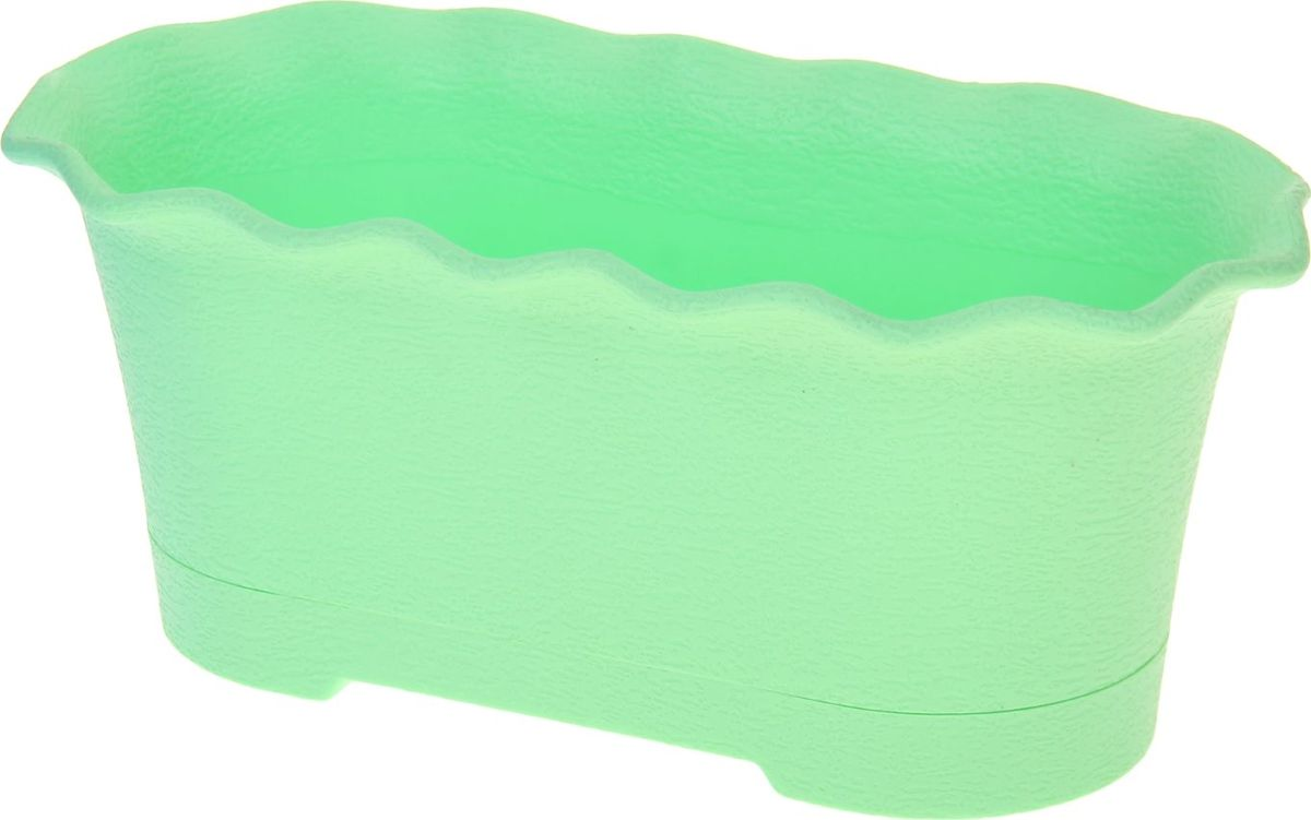Горшок для цветов ТЕК.А.ТЕК Le Fleure, цвет: зеленый, 40 х 20 х 16 см1098521