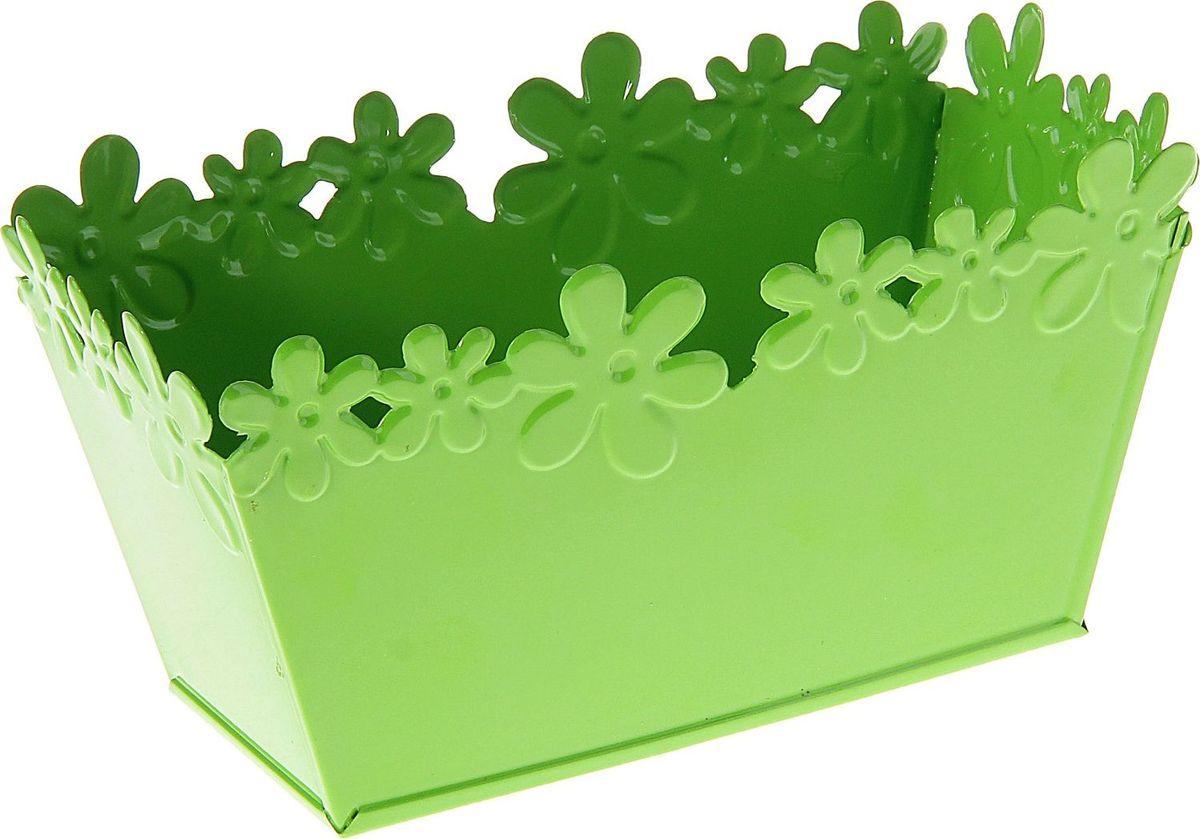 Кашпо Цветочный край. Ванночка, цвет: зеленый, 1-2 л139738Комнатные растения — всеобщие любимцы. Они радуют глаз, насыщают помещение кислородом и украшают пространство. Каждому из растений необходим свой удобный и красивый дом. Металлические декоративные вазы для горшков практичны и долговечны. #name# позаботится о зелёном питомце, освежит интерьер и подчеркнёт его стиль. Особенно выигрышно они смотрятся в экстерьере: на террасах и в беседках. При желании его всегда можно перекрасить в другой цвет.
