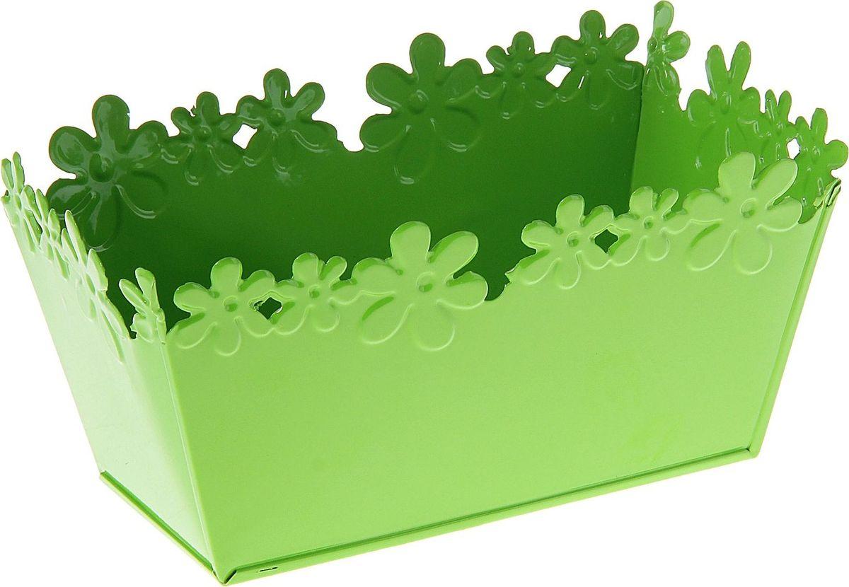 Кашпо Цветочный край. Ванночка, цвет: зеленый, 2-3,5 л139741Комнатные растения — всеобщие любимцы. Они радуют глаз, насыщают помещение кислородом и украшают пространство. Каждому из растений необходим свой удобный и красивый дом. Металлические декоративные вазы для горшков практичны и долговечны. #name# позаботится о зелёном питомце, освежит интерьер и подчеркнёт его стиль. Особенно выигрышно они смотрятся в экстерьере: на террасах и в беседках. При желании его всегда можно перекрасить в другой цвет.