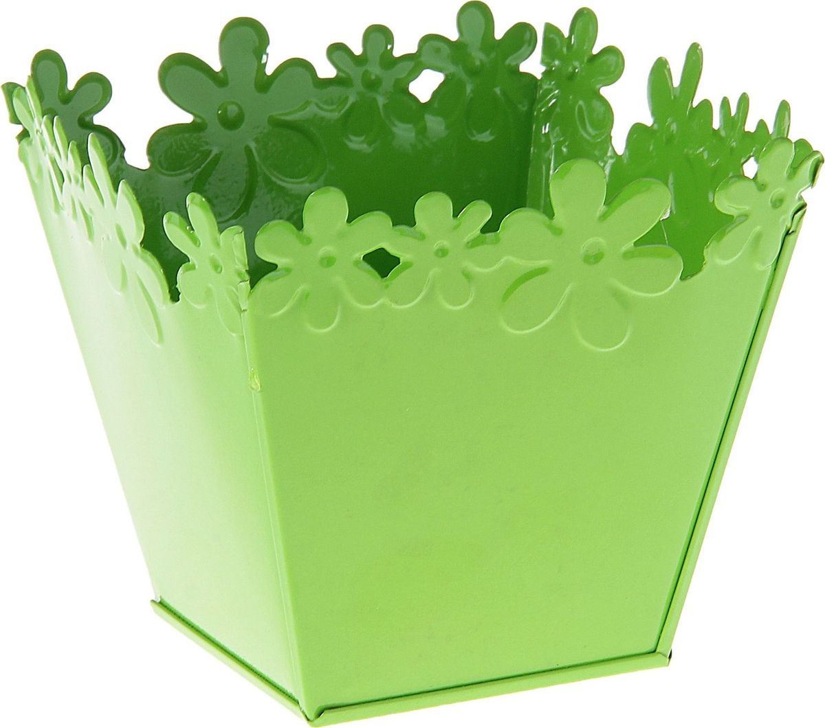 Кашпо Цветочный край. Квадрат, цвет: зеленый, 1 л139747Комнатные растения — всеобщие любимцы. Они радуют глаз, насыщают помещение кислородом и украшают пространство. Каждому из растений необходим свой удобный и красивый дом. Металлические декоративные вазы для горшков практичны и долговечны. #name# позаботится о зелёном питомце, освежит интерьер и подчеркнёт его стиль. Особенно выигрышно они смотрятся в экстерьере: на террасах и в беседках. При желании его всегда можно перекрасить в другой цвет.