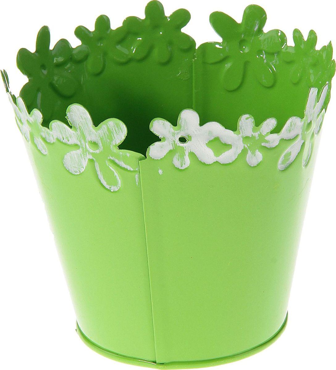 Кашпо Цветочный край. Круг, цвет: зеленый, 1 л139753