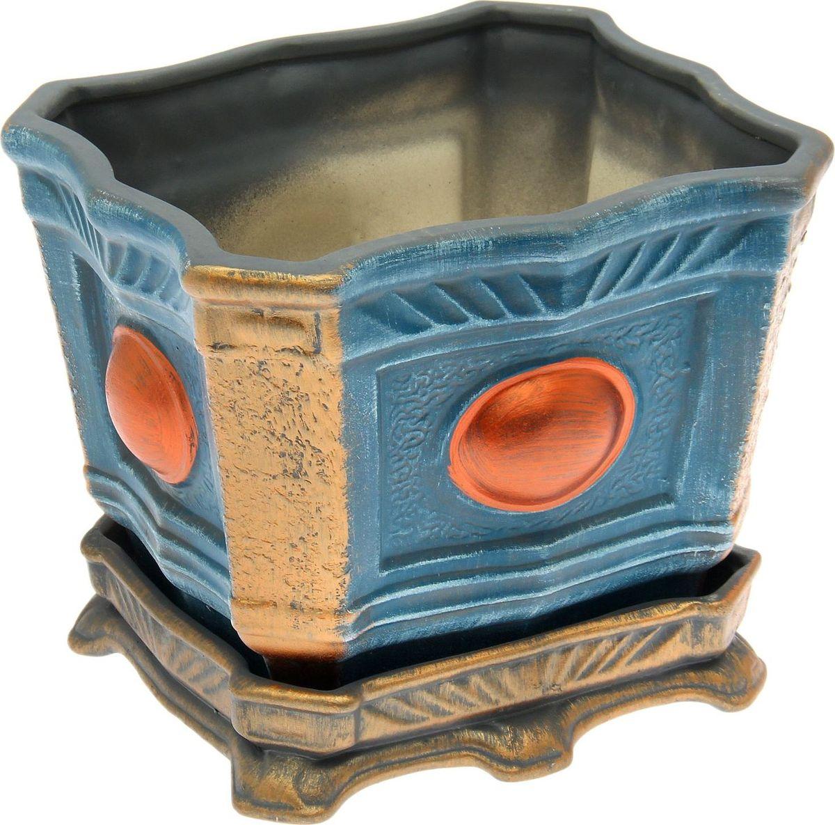 Кашпо Керамика ручной работы  Квадрат , цвет: синий, 6 л -  Садовый декор