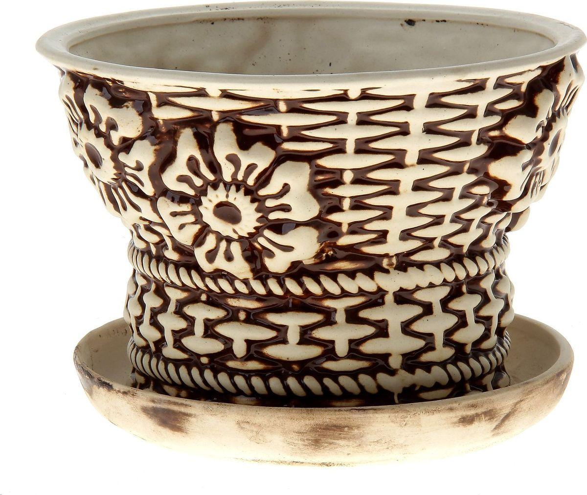 Кашпо Керамика ручной работы Корзинка, цвет: шамот, 3 л144209Комнатные растения — всеобщие любимцы. Они радуют глаз, насыщают помещение кислородом и украшают пространство. Каждому из них необходим свой удобный и красивый дом. Кашпо из керамики прекрасно подходят для высадки растений: за счет пластичности глины и разных способов обработки существует великое множество форм и дизайнов пористый материал позволяет испаряться лишней влаге воздух, необходимый для дыхания корней, проникает сквозь керамические стенки! позаботится о зеленом питомце, освежит интерьер и подчеркнет его стиль.