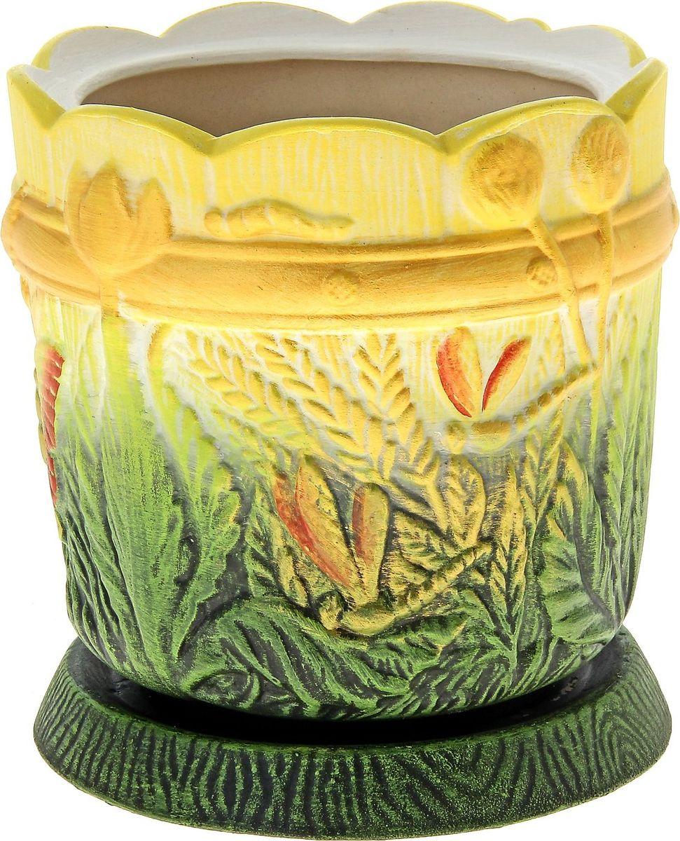 Кашпо Керамика ручной работы Поляна, цвет: желтый, зеленый, 2 л144222Комнатные растения — всеобщие любимцы. Они радуют глаз, насыщают помещение кислородом и украшают пространство. Каждому из них необходим свой удобный и красивый дом. Кашпо из керамики прекрасно подходят для высадки растений: за счёт пластичности глины и разных способов обработки существует великое множество форм и дизайновпористый материал позволяет испаряться лишней влагевоздух, необходимый для дыхания корней, проникает сквозь керамические стенки! #name# позаботится о зелёном питомце, освежит интерьер и подчеркнёт его стиль.