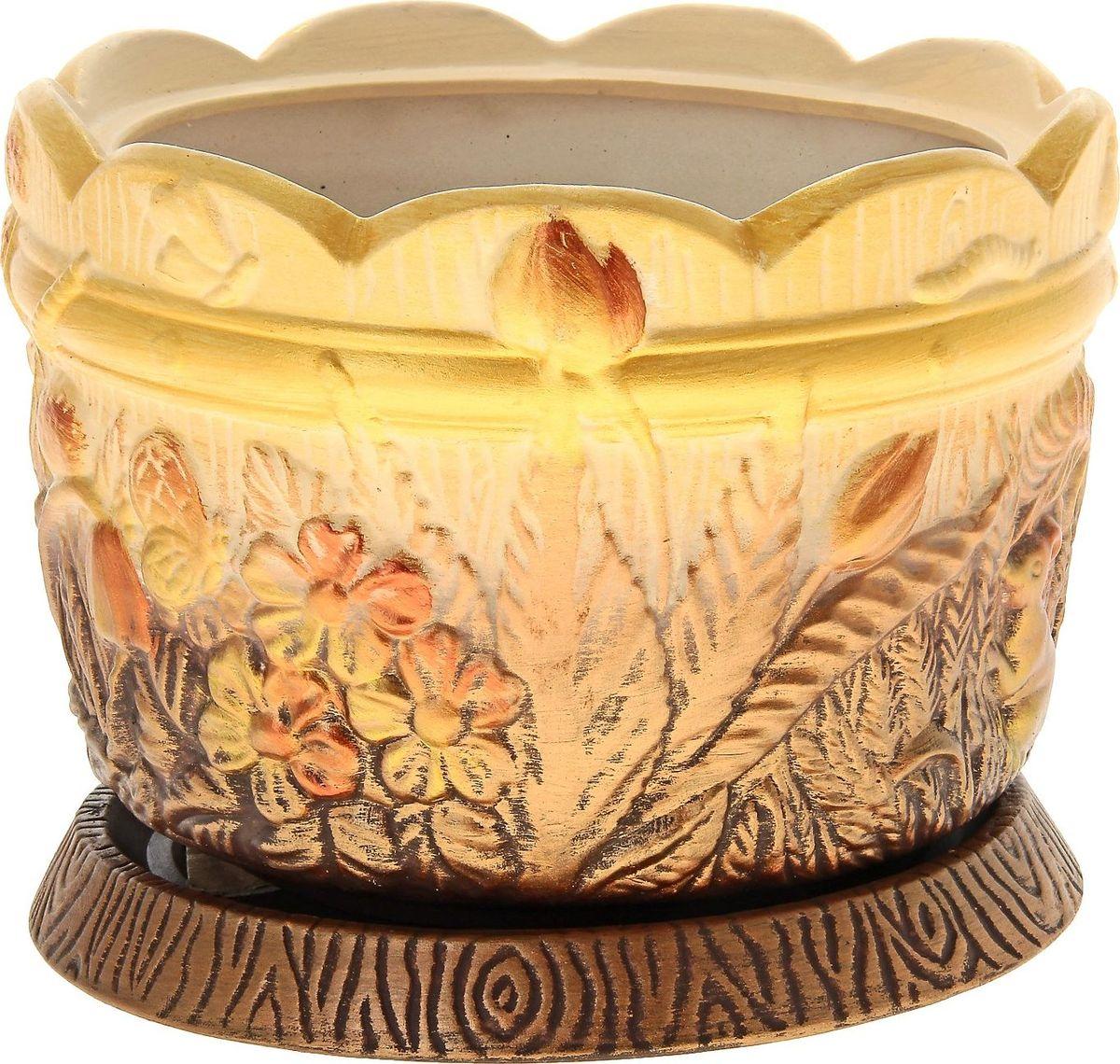 Кашпо Керамика ручной работы Поляна, цвет: медный, 3,5 л144224Комнатные растения — всеобщие любимцы. Они радуют глаз, насыщают помещение кислородом и украшают пространство. Каждому из них необходим свой удобный и красивый дом. Кашпо из керамики прекрасно подходят для высадки растений: за счёт пластичности глины и разных способов обработки существует великое множество форм и дизайновпористый материал позволяет испаряться лишней влагевоздух, необходимый для дыхания корней, проникает сквозь керамические стенки! #name# позаботится о зелёном питомце, освежит интерьер и подчеркнёт его стиль.