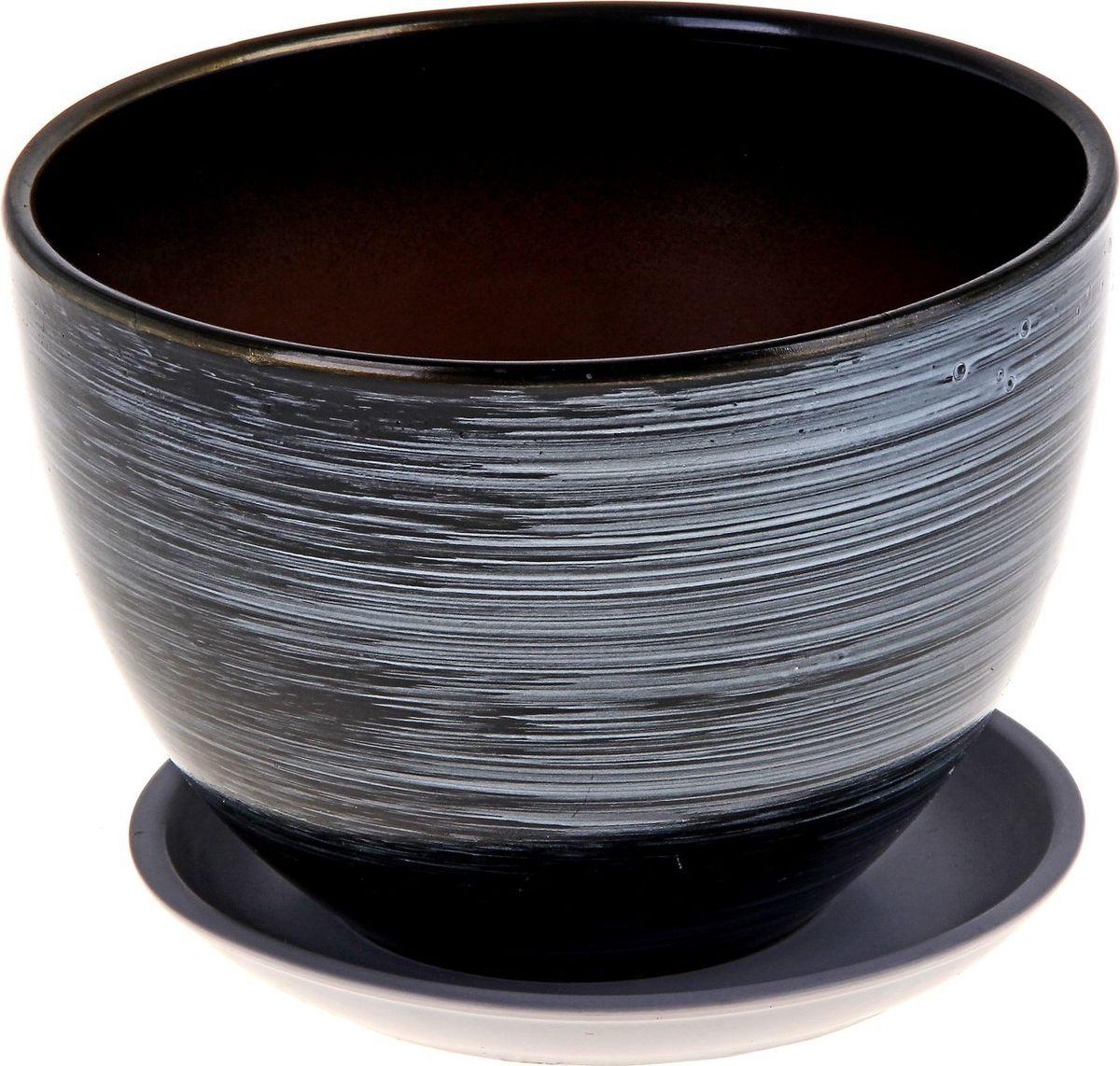 """Декоративное кашпо """"Металлик"""", выполненное из высококачественной керамики, предназначено для посадки декоративных растений и станет прекрасным украшением для дома. Благодаря своему дизайну впишется в любой интерьер помещения."""