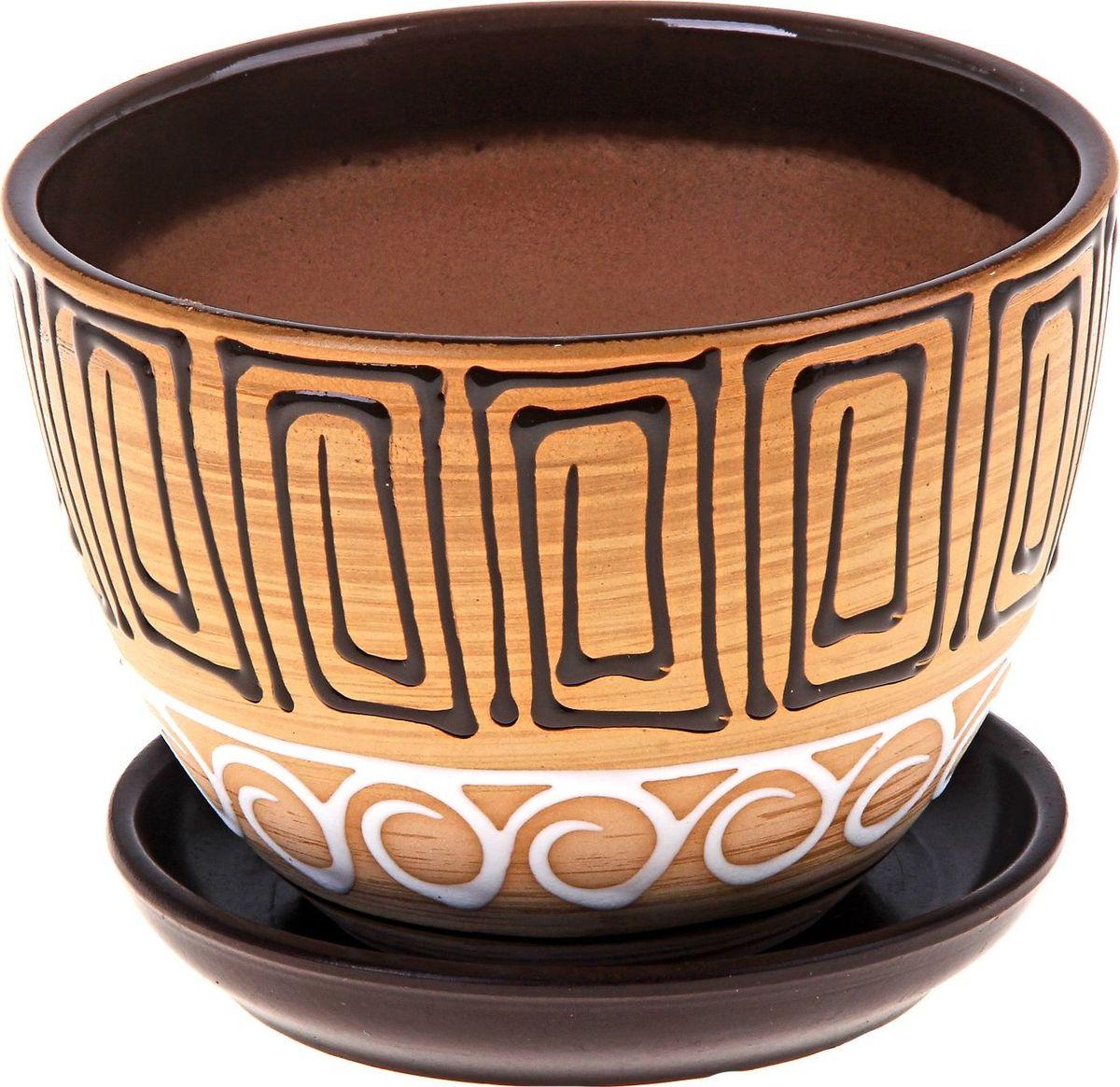 Кашпо Египет, с поддоном, 1,65 л164765Комнатные растения - всеобщие любимцы. Они радуют глаз, насыщают помещение кислородом и украшают пространство. Каждому из них необходим свой удобный и красивый дом.Кашпо из керамики Египет прекрасно подходит для выращивания растений и цветов в домашних условиях. Лаконичный дизайн впишется в интерьер любого помещения.