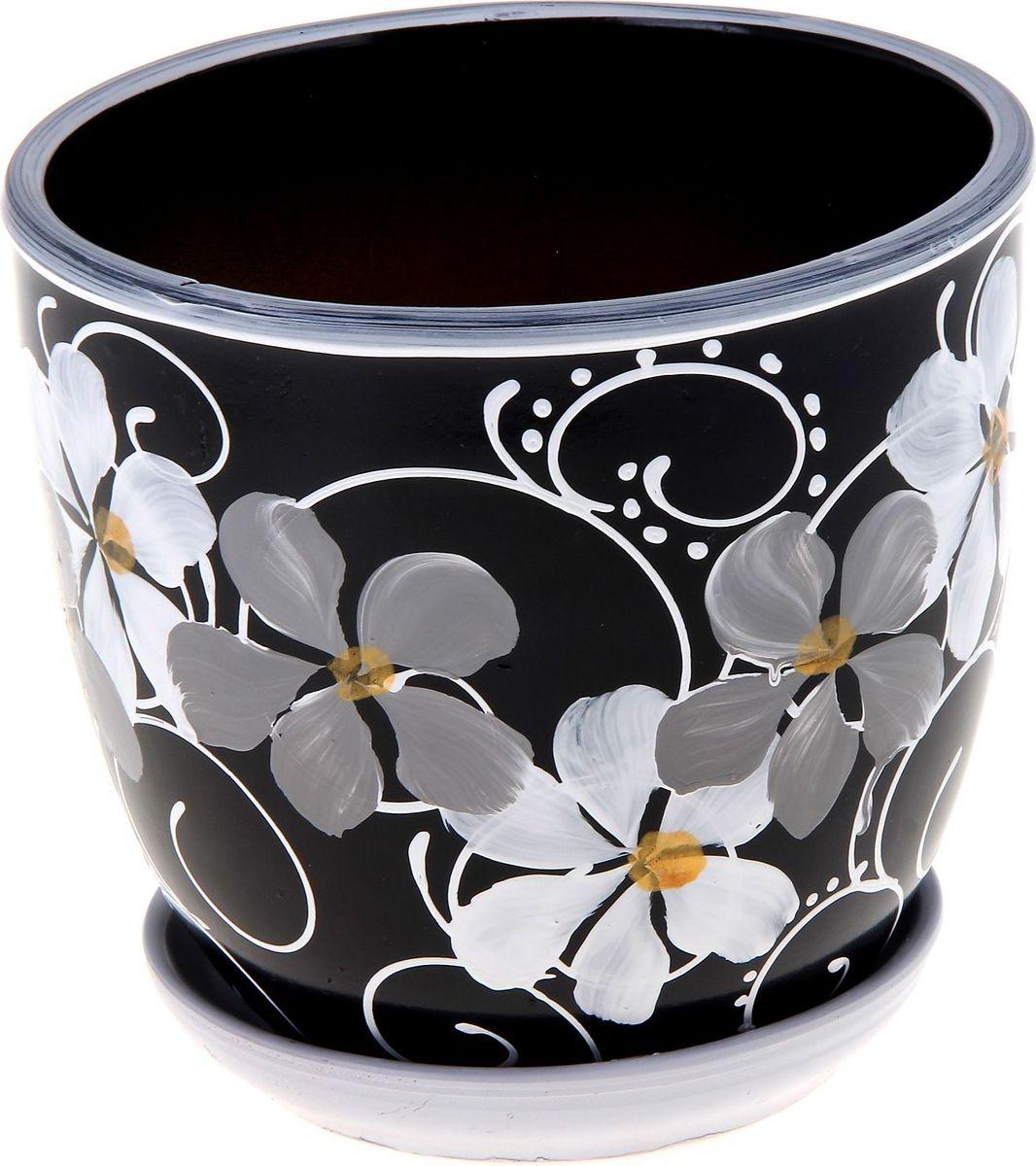 Кашпо Фиалка, цвет: черный, 2,5 л164980