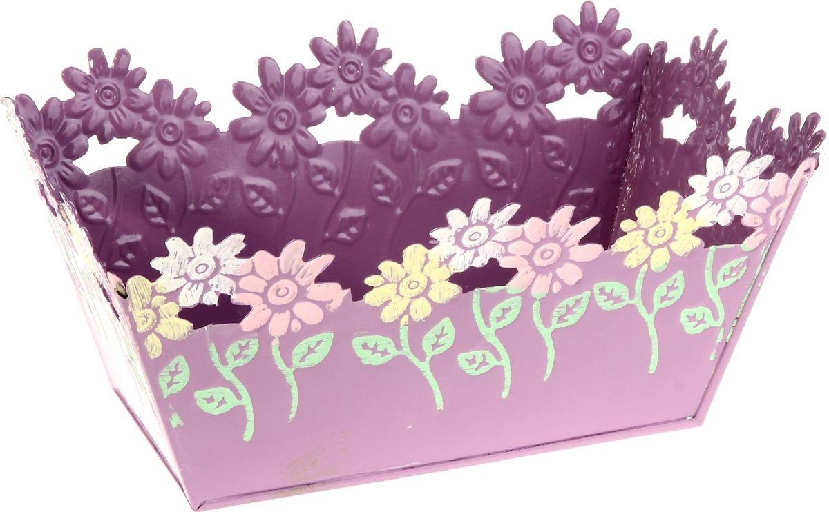 Кашпо Цветочки, цвет: фиолетовый, 12,5 х 19 х 9 см232857Комнатные растения — всеобщие любимцы. Они радуют глаз, насыщают помещение кислородом и украшают пространство. Каждому из растений необходим свой удобный и красивый дом. Металлические декоративные вазы для горшков практичны и долговечны. #name# позаботится о зелёном питомце, освежит интерьер и подчеркнёт его стиль. Особенно выигрышно они смотрятся в экстерьере: на террасах и в беседках. При желании его всегда можно перекрасить в другой цвет.