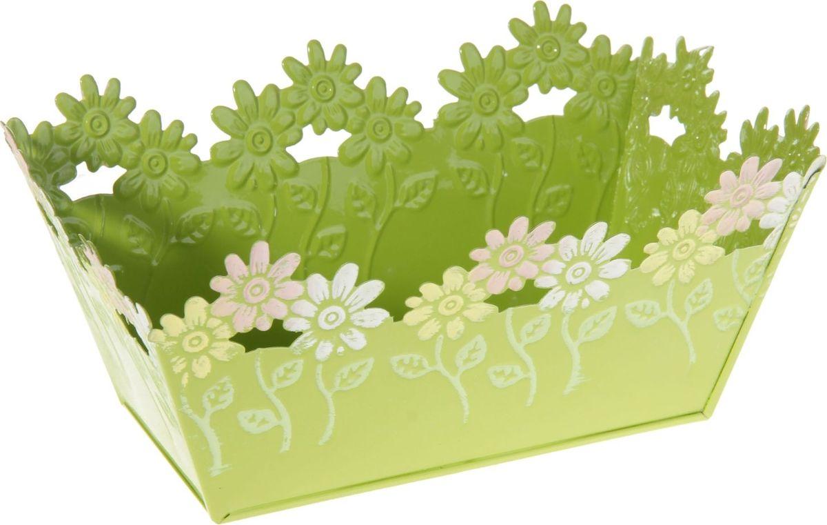 Кашпо Цветочки, цвет: салатовый, 12,5 х 19 х 9 см232858Каждому из растений необходим свой удобный и красивый дом. Металлические декоративные вазы для горшков практичны и долговечны. Кашпо Цветочки позаботится о зелёном питомце, освежит интерьер и подчеркнёт его стиль. Особенно выигрышно оно будет смотреться в экстерьере: на террасах и в беседках. При желании его всегда можно перекрасить в другой цвет.