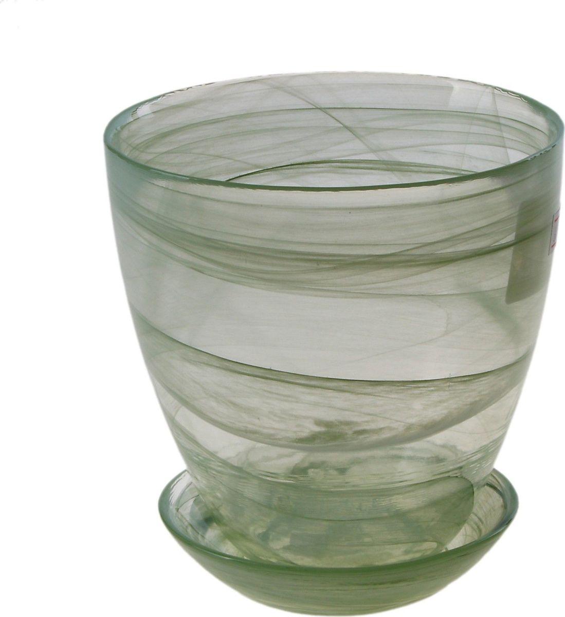 Кашпо NiNaGlass Гармония, с поддоном, цвет: зеленый, 0,7 л607667Комнатные растения — всеобщие любимцы. Они радуют глаз, насыщают помещение кислородом и украшают пространство. Каждому цветку необходим свой удобный и красивый дом. Из-за прозрачности стекла такие декоративные вазы для горшков пользуются большой популярностью для выращивания орхидей. #name# позаботится о зелёном питомце, освежит интерьер и подчеркнёт его стиль!