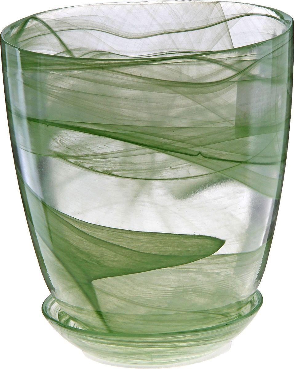 Кашпо NiNaGlass Гармония, с поддоном, цвет: зеленый, 1,2 л607682Комнатные растения — всеобщие любимцы. Они радуют глаз, насыщают помещение кислородом и украшают пространство. Каждому цветку необходим свой удобный и красивый дом. Из-за прозрачности стекла такие декоративные вазы для горшков пользуются большой популярностью для выращивания орхидей. #name# позаботится о зелёном питомце, освежит интерьер и подчеркнёт его стиль!