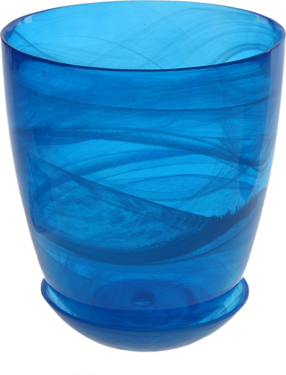 Кашпо NiNaGlass Гармония, с поддоном, цвет: синий, 1,2 л607684Декоративное кашпо с поддоном, выполненное из высококачественного стекла, предназначено для посадки декоративных растений и станет прекрасным украшением для дома. Оригинальное кашпо украсит окружающее пространство и подчеркнет его оригинальный стиль.Комнатные растения - всеобщие любимцы. Они радуют глаз, насыщают помещение кислородом и украшают пространство. Каждому цветку необходим свой удобный и красивый дом. Из-за прозрачности стекла такие декоративные вазы для горшков пользуются большой популярностью для выращивания орхидей.