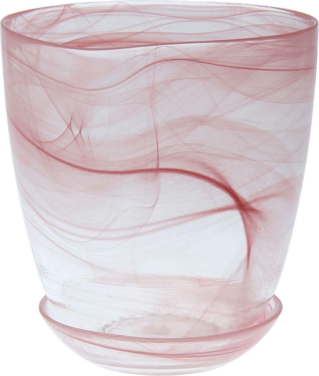 Кашпо NiNaGlass Гармония, с поддоном, цвет: розовый, 1,2 л607686