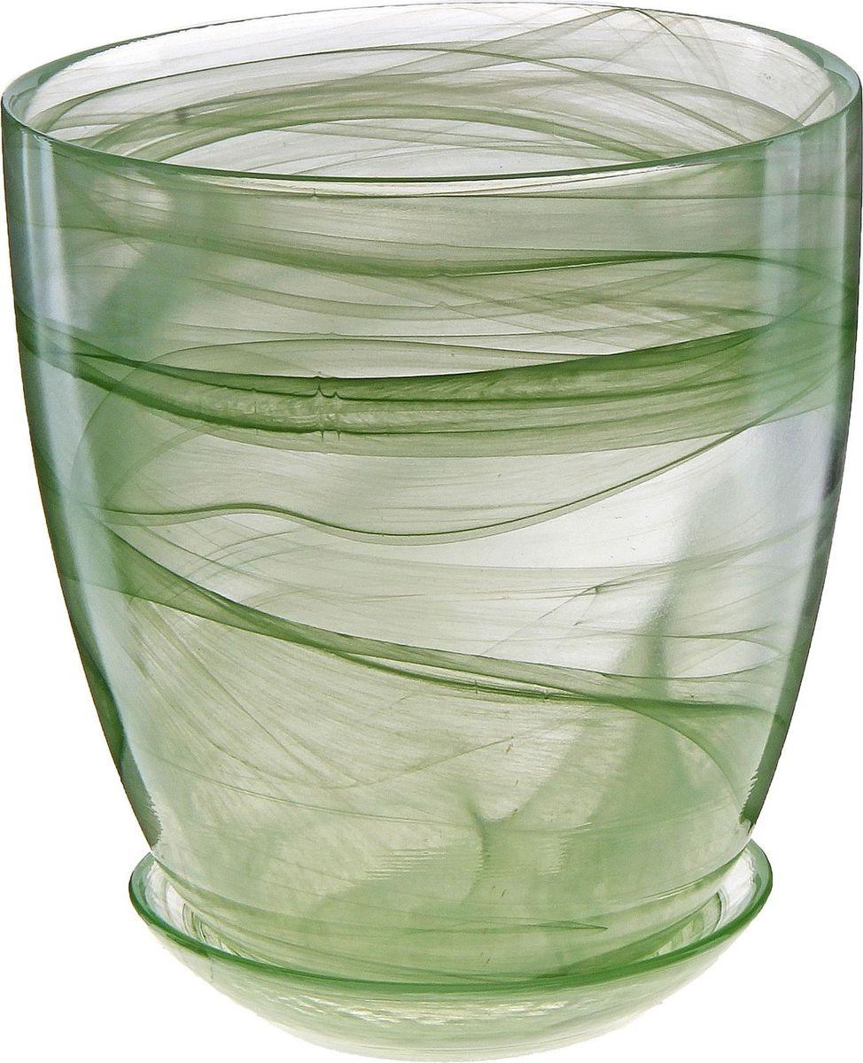 Кашпо NiNaGlass Гармония, с поддоном, цвет: зеленый, 2 л кашпо ninaglass цвет коралловый высота 12 см
