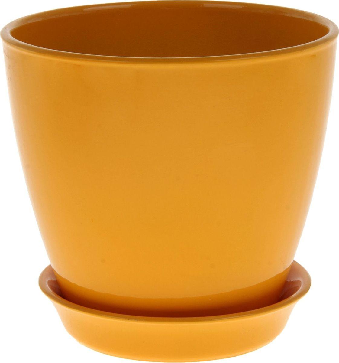 Кашпо Керамика ручной работы Виктория, цвет: желтый, 2 л825120Кашпо серии «Каменный цветок» выполнено из белой глины методом формовки и покрыто лаком. Керамическая емкость имеет объем, оптимальный для создания наилучших условий развития большинства растений. Устойчивый глубокий поддон защитит поверхность стола или подставки от жидкости. Благодаря строгим стандартам производства изделия отличаются правильной формой, отсутствием дефектов, имеют достаточную тяжесть для надежной фиксации конструкции. Окраска моделей не восприимчива к прямым солнечным лучам, а в цветовой гамме преобладают яркие и насыщенные оттенки. Красота, удобство и долговечность кашпо серии «Каменный цветок» порадует любителей высококачественных аксессуаров для комнатных растений.