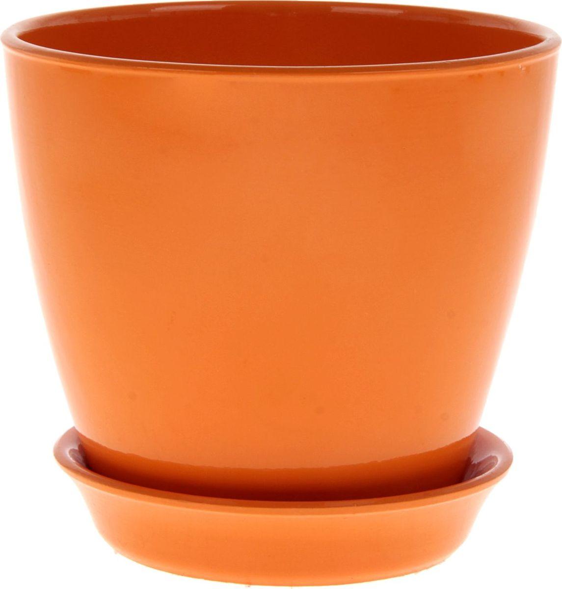 Кашпо Керамика ручной работы Виктория, цвет: оранжевый, 2 л825121